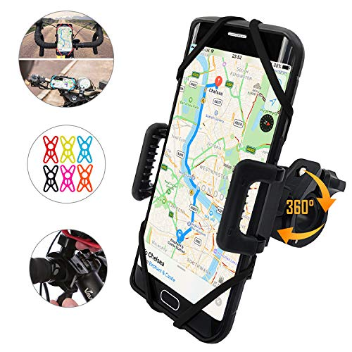 TruActive - Premium Edition - Universal Bike Phone Holder, Motorbike Phone Holder, Phone Holder for Bike, Bike Phone Mount - 6 Colour Bands - Any Phone or Handlebar - Tool Free Install, 360 Rotation