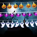 Halloween String Lights, Set of 3 Total 90 LED, Battery Operated Halloween Lights for Outdoor Indoor Decorations, (Orange Pumpkin, White Ghost, Purple Bat) Light String for Halloween Party, Path Light