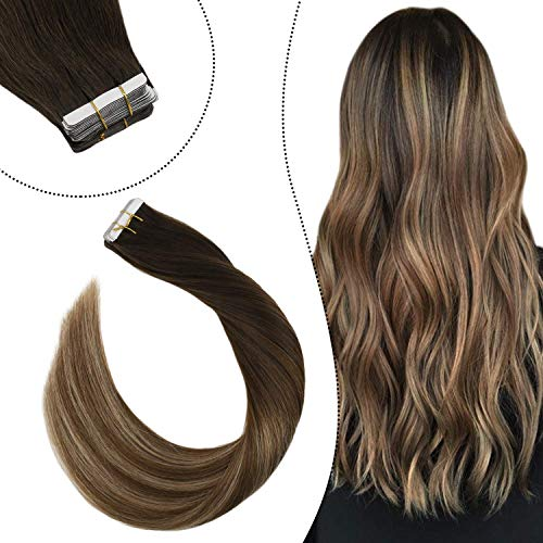 Ugeat Echte Haare Haaverlangerung Tapes 50GR/20PCS Double Sided Skin Weft Remy Human Hair 55cm Tape on Extensions Echthaar Strahnen Dunkelstes Braun bis Mittelbraun und Goldbraun #2/6/12