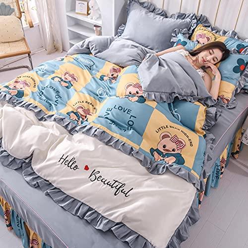 funda de edredón juvenil,Falda de cama seca de lavado de dibujos animados Falda de cama seca, lino grande Rey de ropa grande Down Set de estuche de almohada regalo, usado en habitación de dormitorio