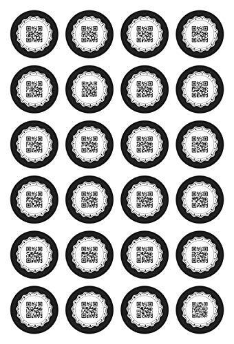 cute-head 24 Adventskalender-Zahlen (Aufkleber Etiketten Sticker)   Originell als QR Code   Rund   M » Ø 40 mm   Gerahmt   F00001-01