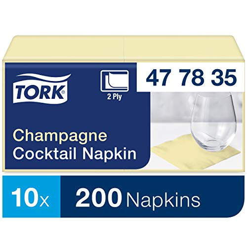 Tork 477835 Cocktailservietten Champagner / Cocktail Serviette in Advanced Qualität mit 1/4 Falz / 12 x 200 (2400) Servietten / 23,8 x 24 cm (B x L)