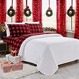 Plush Micro Fleece Bed Sheet Set, Extra Warm Polar Fleece 4 Pcs Winter Bed Sheets, with Deep Pocket, Rdbuch, Queen