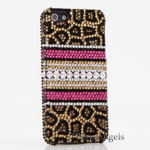 iPhone SE, iPhone 5 / 5s Case, LUXADDICTION [Premium Handmade Quality] Bling Crystals Rhinestone [Leopard Design] Diamond Sparkle Cover