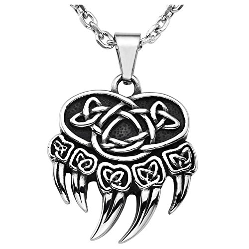 JOVIVI Retro Stainless Steel Nordic Celtic Knot Bear Paw Claw Pendant Necklace, Silver Black, with Gift Box