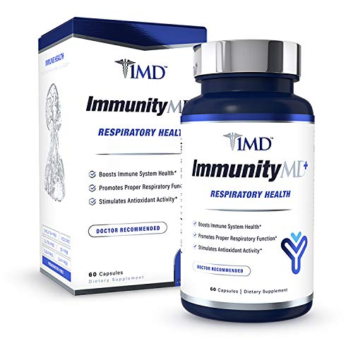 1MD ImmunityMD Plus Respiratory Health - with Vitamin C, Zinc, Elderberry, NAC and More - Immune System Support and Lung Support Supplement - 60 Capsules