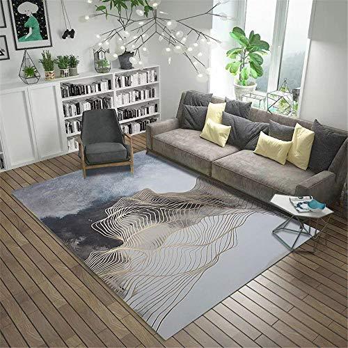 alfombras para la Cocina,Alfombra Blanca Gris, línea Sofá Decorativo Sofá Alfombra cálida Suave, alfombras pie de Cama -Grisáceo_80x200cm