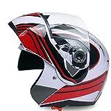GGXX Casco Modular, Casco Integral Abatible, Casco De Motocicleta De Campo Traviesa Certificado por Dot/ECE Casco Antivaho De Cuatro Estaciones con Doble Lente