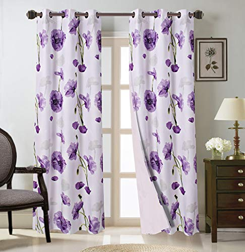 """Bedding Haus Floral Microfiber Curtain Panels (2 Panels), Light Filtering Floral Curtains, Grommet, Curtains for Bedroom and Living Rooms, All Season (Deema1, 63"""", Purple)"""
