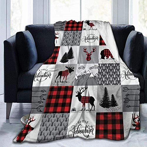 FETEAM Manta Suave WarmThrow Manta Ligero Suave WarmBuffalo Plaid Patchwork Impreso Throw Blanket Ultra Suave para Niños Adolescentes Adultos