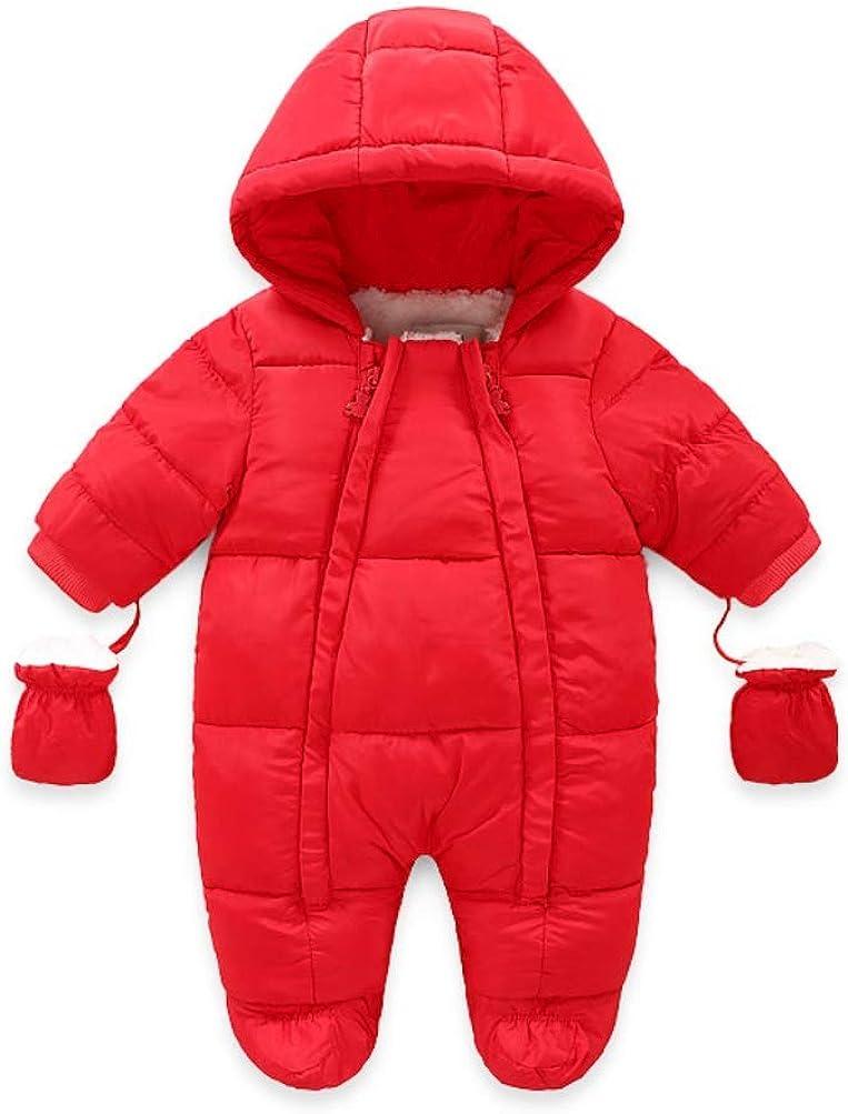 JanLEESi Baby Onesie Indianapolis High order Mall Winter Snowsuit Romper with Fleece Lined Gl