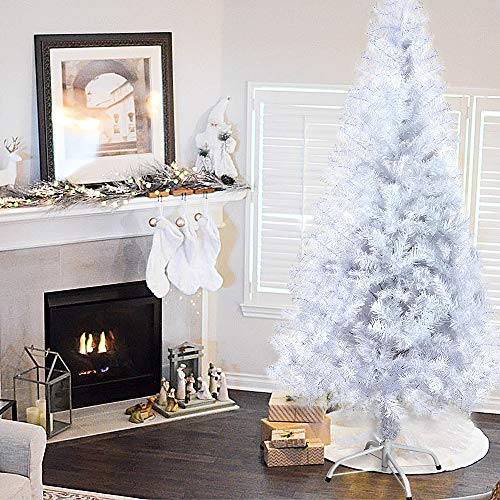 Azadx Artificial Christmas Tree, 4ft -7ft Indoor Xmas Decoration Tree Tips with Tree Stand, Beautiful XmasTree Festival Home Decoration (White, 1.2m / 4ft)