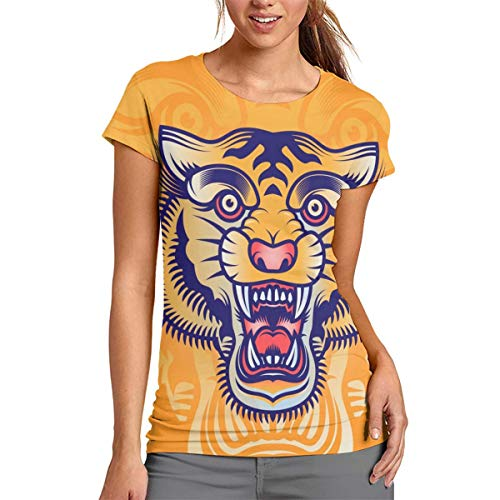Old School Tiger Head Tatuaje De Las Mujeres De La Camiseta Casual De Manga Corta Tops De Cuello Redondo Blusa Cómodo, poliéster, Blanco, Medium