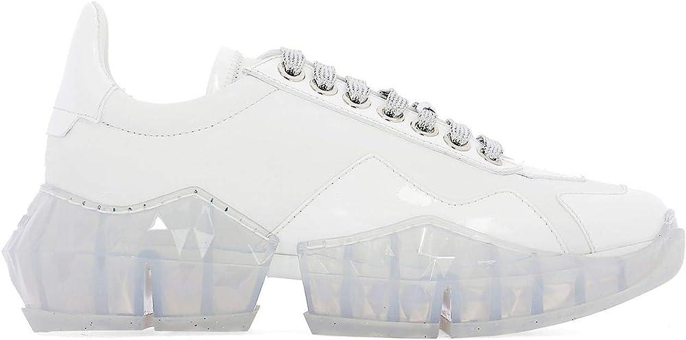 Jimmy choo luxury fashion donna, sneakers per donna,in vera pelle al 100% DIAMONDFCATWHITE