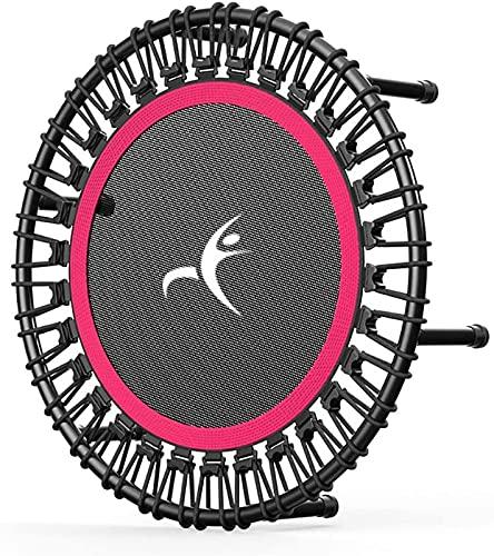 ZJDM Mini trampolín silencioso de 40'con Manillar Ajustable, Entrenamiento de reboteador Interior de Fitness, Equipo de Ejercicio de Salto de Entrenador Cardiovascular, Rosa, B