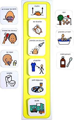 Routine Matinale - Français (produit de communication visuelle en plastique et étanche pour l'autisme)