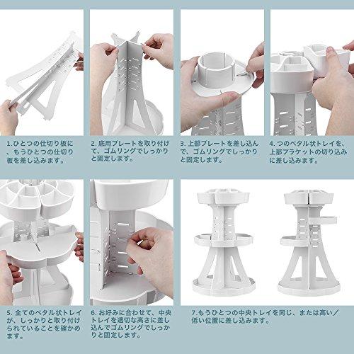 『Jerrybox コスメ収納 メイクボックス 回転 化粧品収納 コスメボックス (タワー, ホワイト)』の7枚目の画像