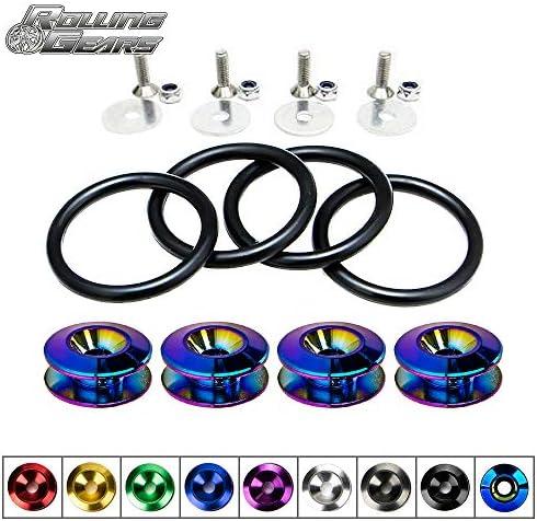 Rolling Gears JDM Bumper Quick Release Front Rear Bumper Fasteners, 4 Piece (Black), 4 x O-Ring