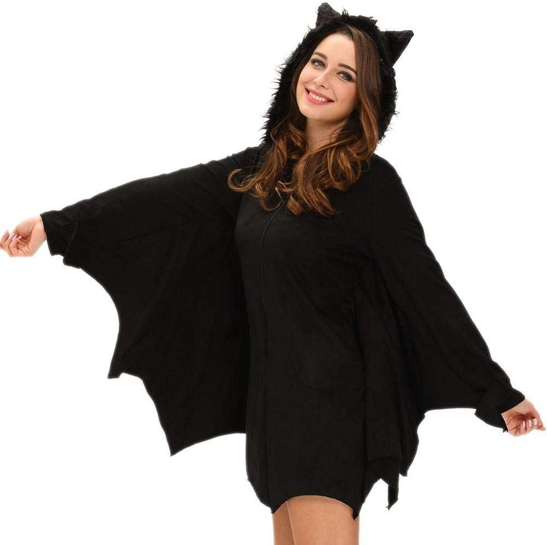 Venta barata Fashion-Cos1 Disfraz de Bruja Bruja Bruja gótica de murciélago Negro para Mujer Adulta de Halloween CosJugar Party Fancy Zip Hoodie Vestido (Talla   S)  la red entera más baja