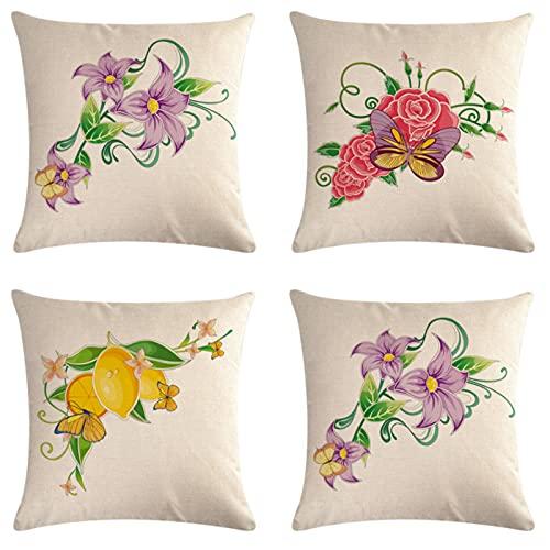 JOVEGSRVA Juego de 4 fundas de cojín decorativas de lino y mariposas para el hogar, oficina, sofá, coche, jardín, 45 x 45 cm