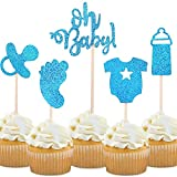 30-Pack Glitter Blue Baby Boy Baby Shower Cupcake Toppers Cake Topper,...