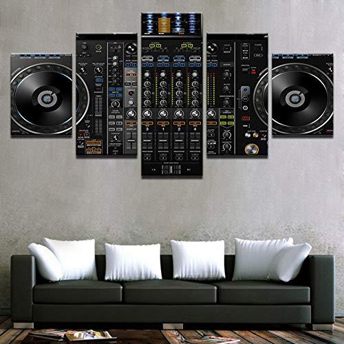 GIAOGE Schilderij Wandkunst Canvasfoto's Wooncultuur frame 5 stuks muziek DJ console instrument mixer schilderijen afdrukken Nachtclub Bar Poster No Frame 20x35 20x45 20x55 cm