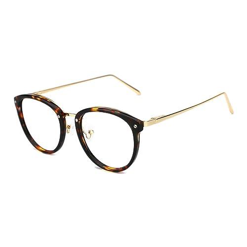 bbd2c1420a TIJN Vintage Round Metal Optical Eyewear Non-prescription Eyeglasses Frame  for Women
