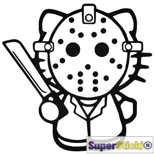 Hello Kitty Jason IJshockey masker Killer autosticker ca 15 cm Tuning Motorsport Sticker Decal van Superstiki® van high-performance folie geplot, vrij zonder achtergrond voor alle gladde oppervlakken UV- en wasstraatbestendig professionele kwaliteit