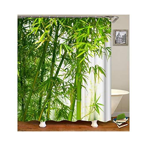 Knbob Polyester Duschvorhang Bambus Wald Badewanne Vorhang 165x200CM mit 12 Duschvorhangringen
