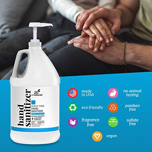 Artnaturals Hand Sanitizer Gel Alcohol Based (1 Gallon x 128 Fl Oz / 3785ml) Infused with Jojoba Oil, Alovera Gel & Vitamin E - Unscented Fragrance Free Sanitize