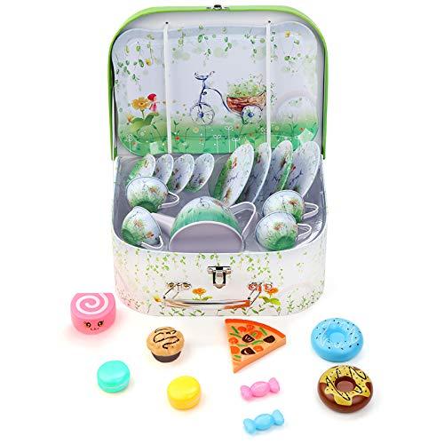 BEIAOSU Teeservice Set Teeset für Kinder Kaffeeservice Puppengeschirr Geschirr aus Metall, 24 Teilig