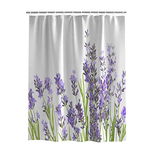 EZON-CH Fabric Waterproof Bathroom Shower Curtain for Bath Room Home Decor,Lavender Flower Pattern Purple Washable Curtain Sets with Hooks Bathroom Accessories 72 x 78 Inch