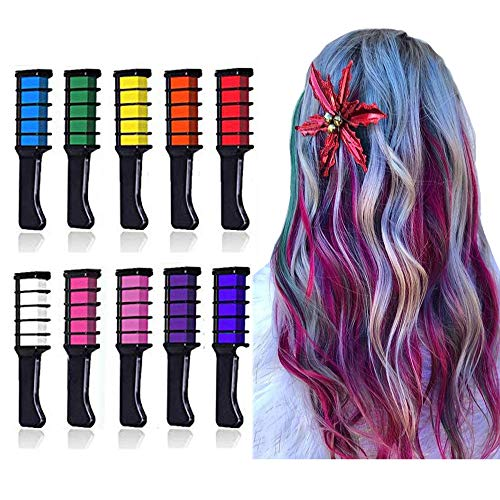 EBANKU Temporary Hair Chalk Comb, 10 Color Washable Hair Chalk Set for Girls Kids Gifts on Cosplay DIY Birthday Party