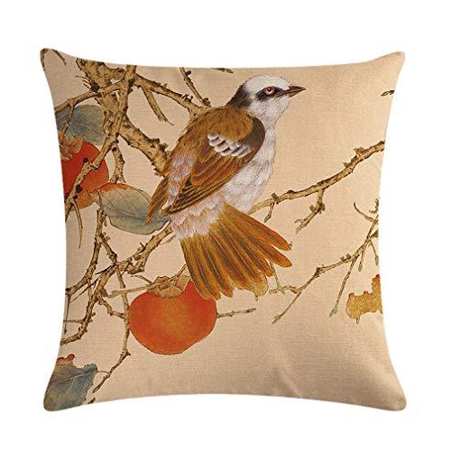 Nunubee Funda de Cojine Lino 45 x 45 Funda de Almohada Sofá Sala de Estar Dormitorio Cama Decorativos, Flores y pájaros meticulosos