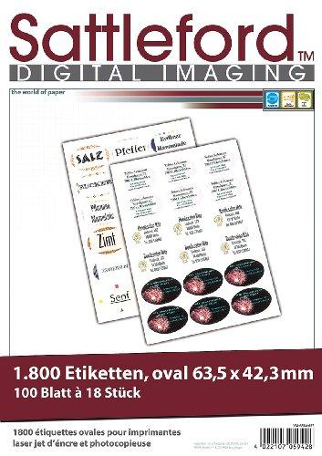 Sattleford Etikettendrucker: 1800 Etiketten oval 63,5x42,3 mm für Laser/Inkjet (Etiketten Aufkleber)
