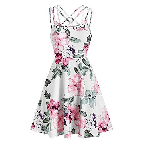 Toimothcn Women's Plus Size Sling Beach Sundress Casual Spaghetti Strap Floral Printed Swing Dress FBA (1 White, XXXL)