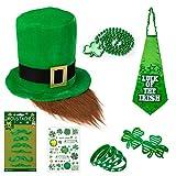 L-LATFF St. Patrick's Day, 10 Pcs Irish Parades Costumes Accessories Set Shamrock Hat Necklace Mustaches Clover Glasses Temporary Tattoos Sticker Lucky Bracelets Bow Tie Patricks Party Favors (Men)