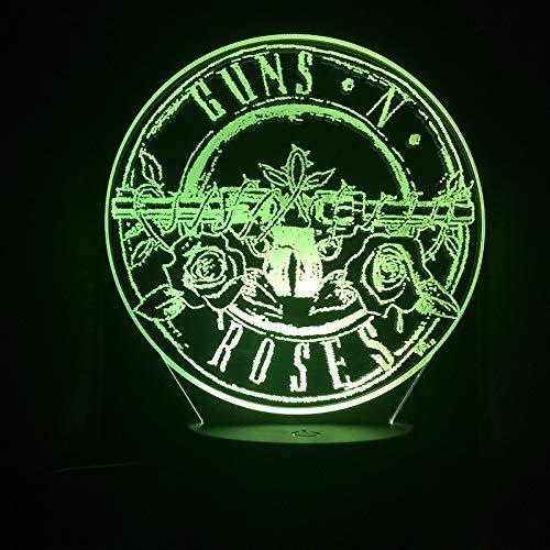 Lámpara de mesa LED con luz nocturna 3D de banda de rock, decoración multicolor, regalo para habitación de niños