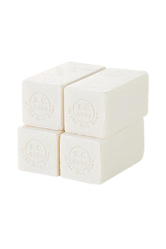 腐食するミリメーターハンカチ100% バージンオリーブオイル石鹸 B.C.4000 オーガニック せっけん 50g 4個入