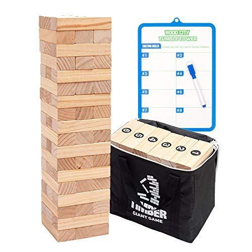 Giant Tumble Tower Game (Stacking from 2 to 4 Feet), WOOD CITY Classic Jumbo Outdoor Game for Adults Kids Family, 54 Pieces Premium Pine Wood Blocks Toy
