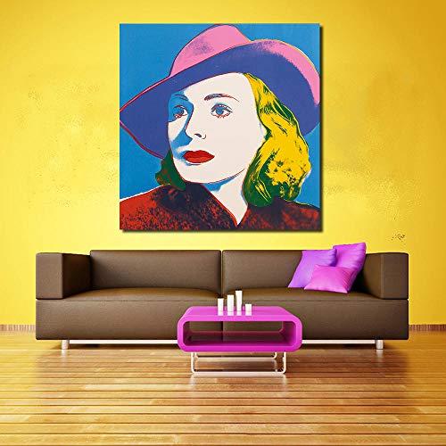 LKLKK Frau MIT Hut Gemälde für Wohnzimmer Wandbilder auf Leinwand Gemälde Wandbilder 50x50cm (kein Rahmen)