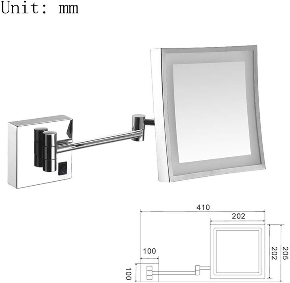 Specchio per trucco da parete Specchio ingranditore LED di lusso con specchio da bagno per toeletta in hotel con superficie di ingrandimento quadrata allungabile regolabile 8 pollici 3x,Antique