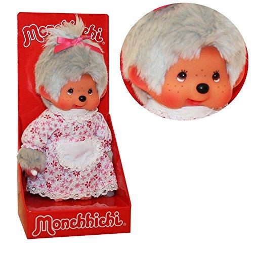 Sekiguchi Großmutter Oma   20 cm   Monchhichi Puppe   Mädchen   Omi mit grauem Fell