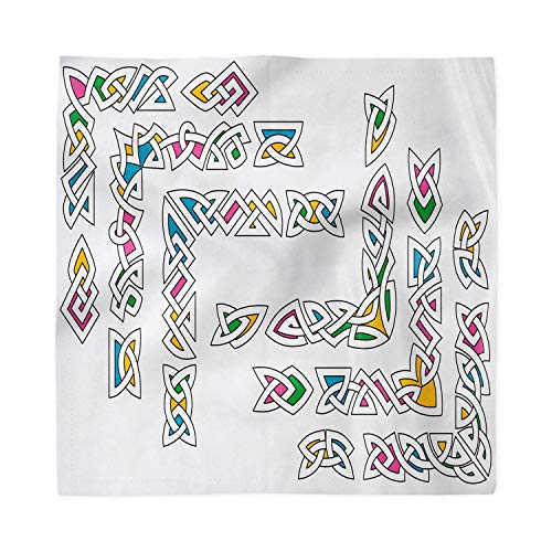 Ambesonne Irish Decorative Napkins Set of 4, Celtic Ornament Patterns Set Colorful Vibrant Entangled Gaelic Borders, Satin Fabric for Brunch Dinner Buffet Party, 12' x 12', Multicolor