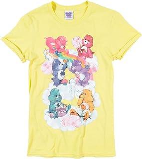 TruffleShuffle Womens Yellow Care Bears Sweet Treats Clouds Rolled Sleeve Boyfriend T Shirt