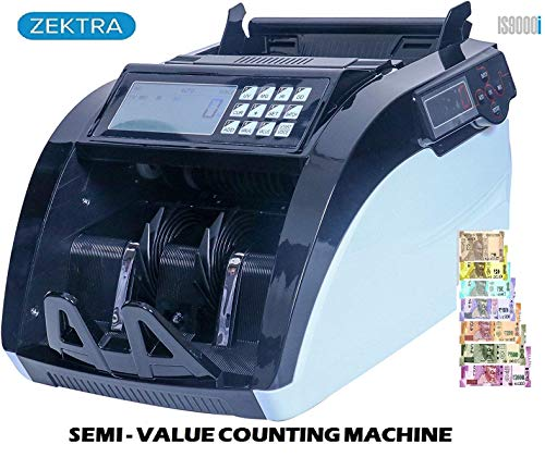 ZEXA 5108 Currency Counting Machine with UV/MG/MT/IR Counterfeit Notes Detection, DUST Protector, External Display and 1 Year Warranty