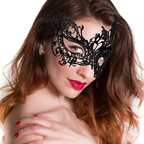 GOODS+GADGETS Masque vénitien sexy découpé au laser - Noir