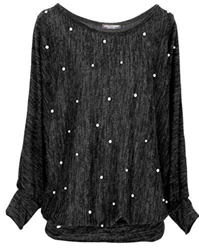 Emma & Giovanni - Pullover/Sweatshirt mit Perlen Loose Fit - Damen (Schwarz, XL-XXL)