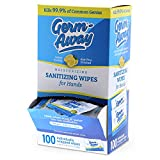 Germ-Away Antibacterial Large Hand Wipes Individually Wrapped in Dispenser Box, 100 Single Lemon Scent Wipes