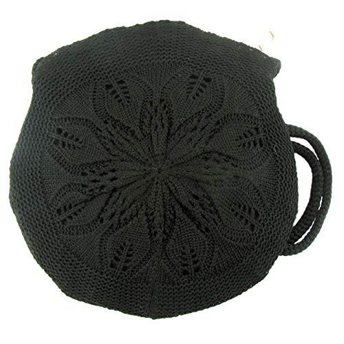 Zisla Bolso bandolera casual de mujer pequeño, circular de ganchillo, croche o tejido gancho, estilo bohemio hippie. (Negro)